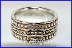 James Avery Signed Sterling Silver Retired 3 Row Caviar Bead Wedding / Band Ring