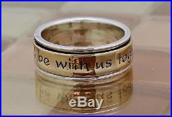 James Avery Silver & Gold God Be With Us Band Ring, Size 7.5, 8.8 G. RETIRED
