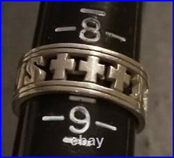James Avery Silver I Love Jesus with 3 Crosses of Calvary Ring Retired & Rare
