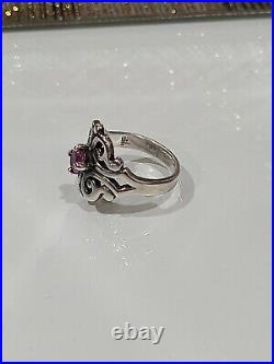 James Avery Silver Spanish Lace Scrolled Swirl Ring Pink Sapphire Sz 6.5 $275