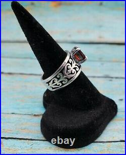 James Avery Size 6 Sterling Silver Adoree Swirl Ring Oval Red Garnet Pre-Owned