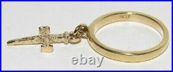 James Avery Smooth Dangle with Nail Cross Charm 14k Gold Ring Size 3