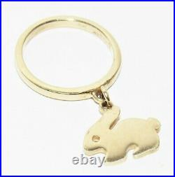 James Avery Smooth Dangle with Rabbit Charm 14k Gold Ring Retired Size 5