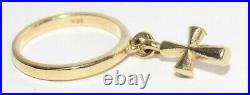 James Avery Smooth Dangle with St. Teresa Cross Charm 14k Gold Ring Size 4