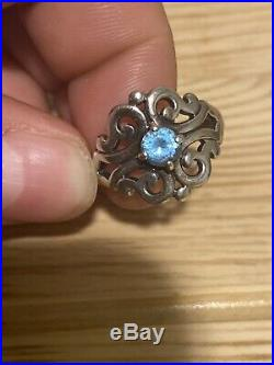James Avery Spanish Lace Ring with Blue Topaz Sterling Silver Size 8.25