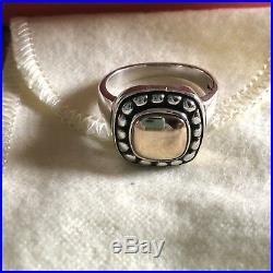 James Avery Square Beaded Ring 14K Gold 925 Sterling Silver SIZE 8.5 RETIRED