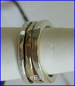 James Avery Stacked Hammered/Pounded Silver and Gold ring size 7.5 retired