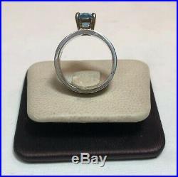 James Avery Sterling Silver 14K Gold Blue Topaz Oval Julietta Ring Size 6
