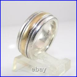 James Avery Sterling Silver 14K Yellow Gold Ring Wedding Band SZ 8 LHA2