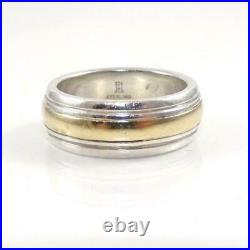 James Avery Sterling Silver 14K Yellow Gold Ring Wedding Band SZ 8 LHA3