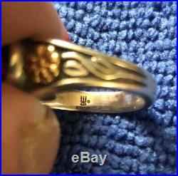 James Avery Sterling Silver & 14k Garnet Heart Flowers Ring Size 6