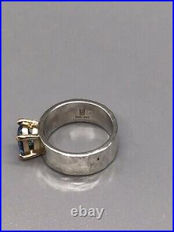James Avery Sterling Silver 14k Julietta Blue Topaz Hammered Ring 5