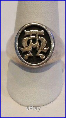 James Avery Sterling Silver 14k Yellow Gold Alpha & Omega Ring SZ 10.5