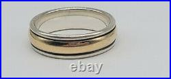 James Avery Sterling Silver & 14k Yellow Gold Simplicity Wedding Band Ring Sz 9