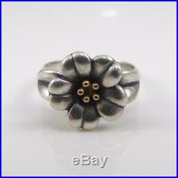 James Avery Sterling Silver 18K Gold Ring 3D Flower Size 6 LFJ3