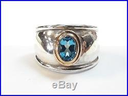 James Avery Sterling Silver & 18k Gold Christina Ring Blue Topaz Size 6 Retired