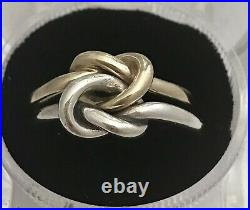 James Avery Sterling Silver 925/ 14K Yellow Gold Original Lovers Knot Ring 8.5