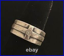 James Avery Sterling Silver 925 Diamond Esperanza Cross Ring Band Sz 8