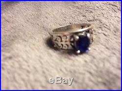 James Avery Sterling Silver Adoree Ring WithBlue Sapphire Size 8, 5.7G RET$405