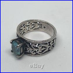 James Avery Sterling Silver Adoree Ring With Blue Topaz Size 7