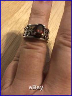 James Avery Sterling Silver Adoree Ring with Garnet Size 7-7.25