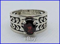 James Avery Sterling Silver Adoree Ring with Oval Red Garnet Size 7 FREE SHIPPING