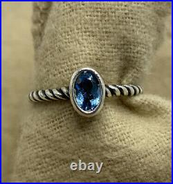 James Avery Sterling Silver Elisa Ring with Blue Topaz Size 5.5