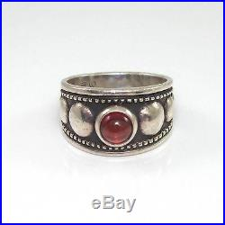 James Avery Sterling Silver Garnet Bead Ring Size 7.5 LQ43-G