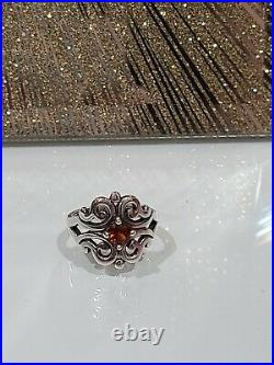 James Avery Sterling Silver Spanish Lace Scrolled Swirl Ring With Garnet Sz 6.5