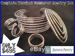 James Avery Sterling Silver Stacked and Hammered Complete Set (Ring Size 8.5)