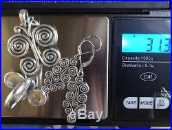 James Avery Sterling Silver Swirl Mycenaean Butterfly Pendant Ring Earrings Set