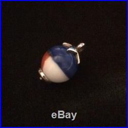 James Avery Sterling Texas Star Finial Art Glass Bead Charm Retired No Jump Ring