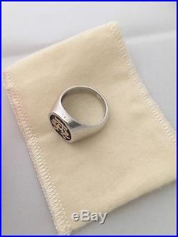 James Avery Sterling silver 14k Alpha & Omega Ring Size 10