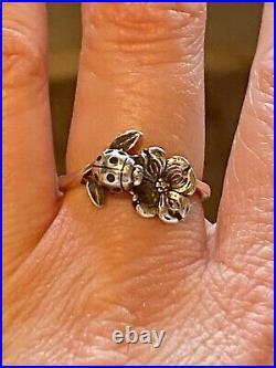 James Avery dogwood flower and ladybug ring retired size 8