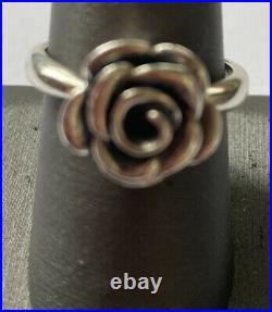 James avery sterling silver rose blosson ring size 9