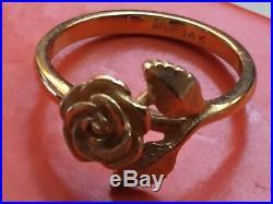 Lovely Retired James Avery 14K Gold Small Rose Ring Size 4.25