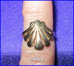 RARE James Avery 14K Gold Open Sea Shell Fan Ring