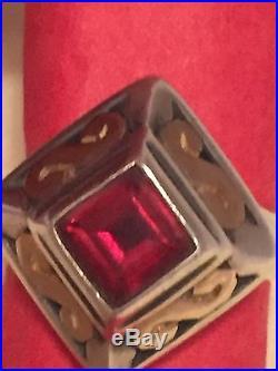 RARE James Avery Garnet Ring 14 KT Gold S Silver SZ 3.5