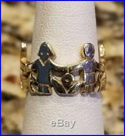 RARE RETIRED James Avery 14k Yellow Gold Paper Doll Children Boy Girl Ring Sz 6