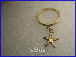 RARE RETIRED James Avery 14k Yellow Gold Starfish Dangle Ring Size 3 1/2