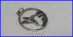 RARE RETIRED James Avery Sterling Silver Oval Hummingbird Bird Charm Uncut Ring