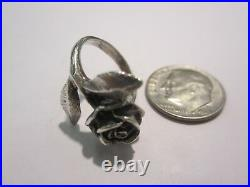 RARE Retired James Avery Sterling Silver Large 3 Dimensional Rose Ring- Sz. 3.5