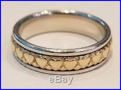RETIRED HTF JAMES AVERY Sterling Silver 14K Gold Eternity Heart Band Ring Size 9