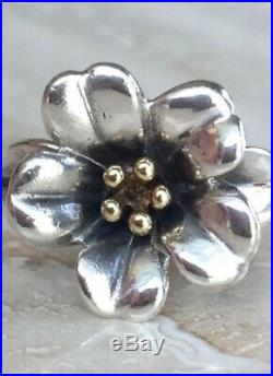 RETIRED James Avery April Flower Sterling Silver And 18k Gold Ring- Size 4.5