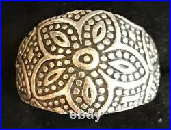 RETIRED James Avery Beaded Flower Ring Sterling Silver Sz 6