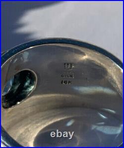 RETIRED James Avery Christina Blue Topaz Ring, Sterling Silver 18k Gold Size 7