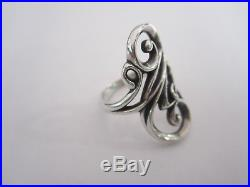 RETIRED James Avery Large Sterling Silver Scroll Design Ring Sz 7.5