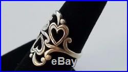 RETIRED James Avery Scrolled Double Heart Ring Sterling Silver Sz 7.5 FREE SHIP
