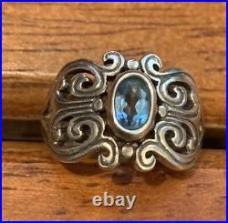 RETIRED James Avery Spanish Hearts Blue Topaz Ring Size 4 1/2 Gift Box Inc