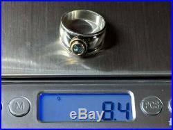 RETIRED James Avery Sterling Silver 18k Gold Christina Ring Blue Topaz Size 8.5